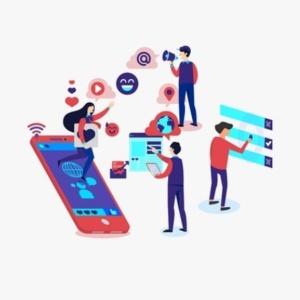 Pagine Facebook - disegno di uomini che lavorano con computer e telefoni